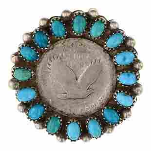 Vintage Pawn Turquoise & Standing Liberty Quarter Pin