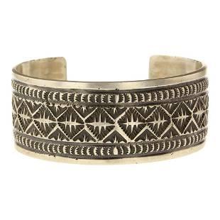 Fred Maloney Stamp work Plain Silver Cuff Bracelet