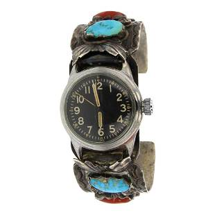 Old Pawn Turquoise & Coral Watch Bracelet