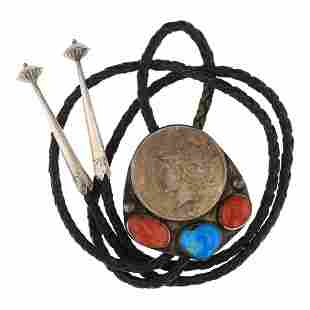 Vintage Pawn Turquoise & Coral Peace Dollar Bolo Tie