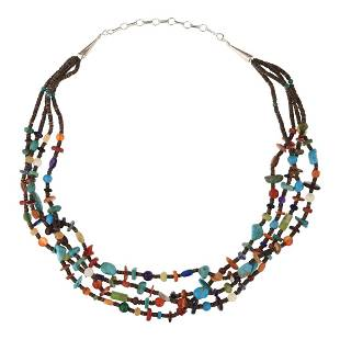 Four Strand Turquoise Coral Spiny Oyster Lapis & Shell