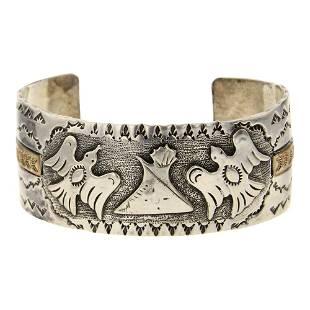 Vintage 12K Gold Filled & Sterling Silver Cuff Bracelet