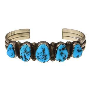 Vintage Sleeping Beauty Nugget Turquoise Cuff Bracelet