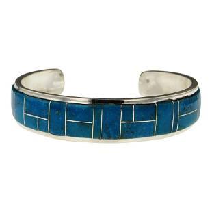 Edison Yazzie Kingman Turquoise Inlay Cuff Bracelet