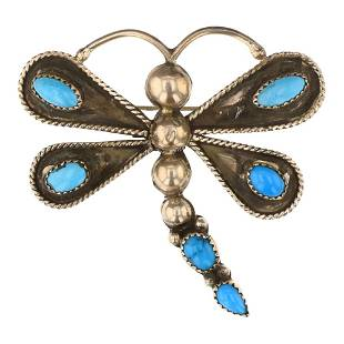 Joe Tso Kingman Turquoise Dragonfly Pin