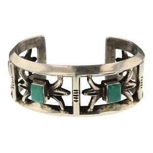 Turquoise Square Sandcast Cuff Bracelet