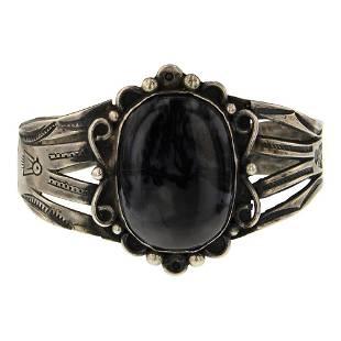 Old Pawn Fred Harvey Era Black Agate Bracelet