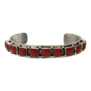 Vintage Mediterranean Coral Square Row Cuff Bracelet