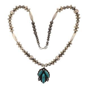 Vintage Pawn Blue Ridge Turquoise Bench Beads Necklace
