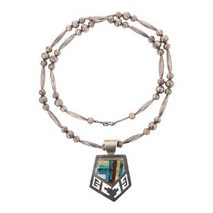 Vintage Turquoise Coral & Shell Inlay Necklace