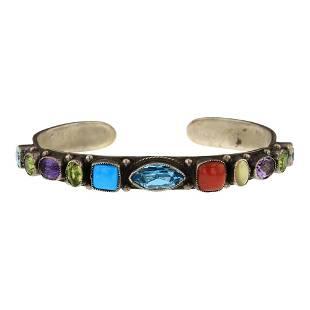 Leo Feeney Turquoise Coral & Mixed Gem Stone Bracelet