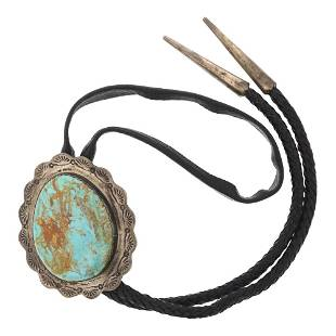 Vintage Pawn Large Nevada Turquoise Bolo Tie