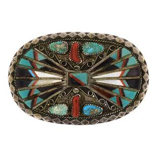 Old Pawn Turquoise Coral & Shell Pin