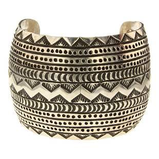 Navajo Plain Silver Domed Stamp work Wide Cuff Bracelet
