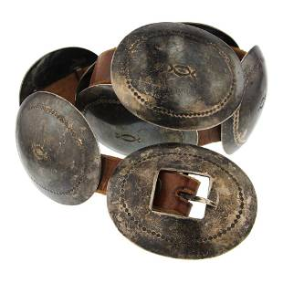 Old Pawn Plain Silver Concho Belt