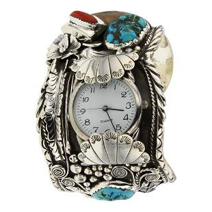 Turquoise & Coral Bear Claw Large Leaf Work Watch