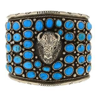 Kingman Turquoise Bison Head Cuff Bracelet