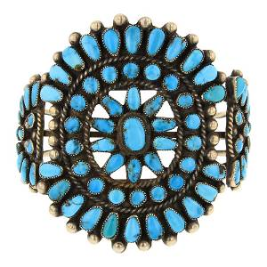 Old Pawn High Grade Turquoise Cluster Bracelet