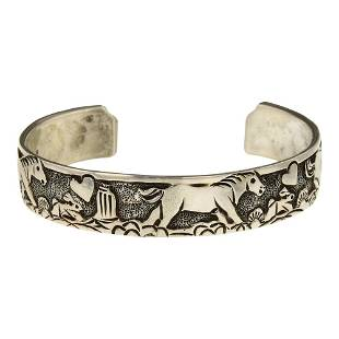 Navajo Plain Silver Horse Story Teller Cuff Bracelet