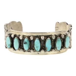 Shawn Cayatineto Whitewater Turquoise Row Cuff Bracelet