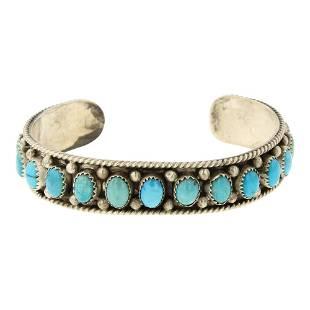 Joe Tso Kingman Turquoise Row Cuff Bracelet