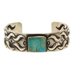Julian Chavez Royston Turquoise Bump out Cuff Bracelet