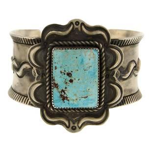 Julian Chavez Royston Turquoise Rectangle Cuff Bracelet