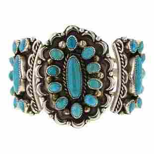 Kingman Turquoise Cluster Bracelet