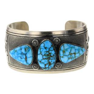 Charlie John Water Web Kingman Turquoise Cuff Bracelet