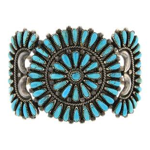 Francis M. Begay Kingman Turquoise Cluster Bracelet