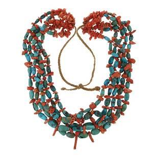Vintage Santo Domingo Pueblo Turquoise & Coral Five