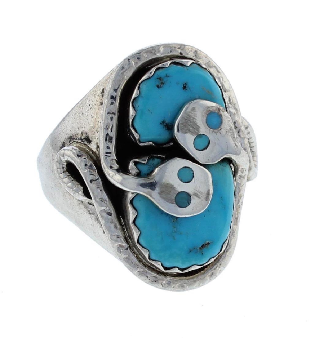 Sterling Silver  Turquoise Ring Zuni Native American