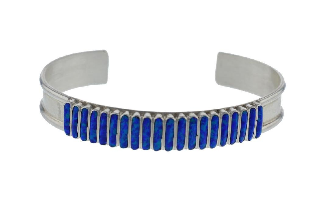 Sterling Silver Opal Bracelet Zuni Native American