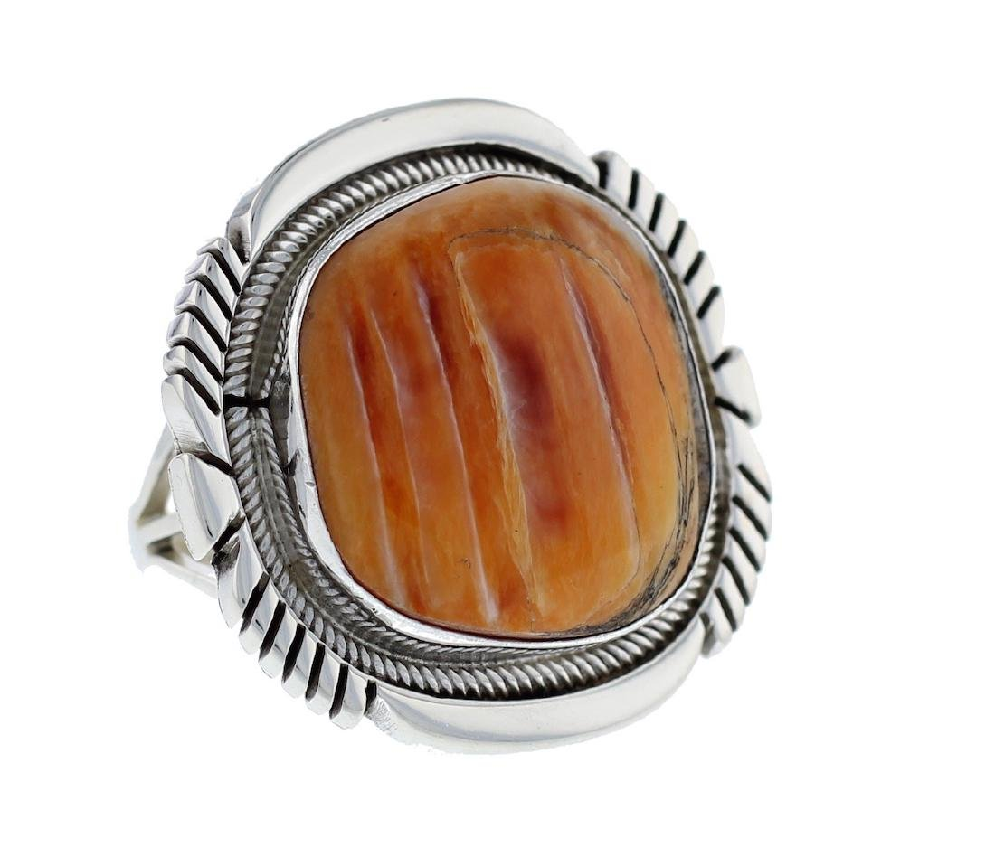 Sterling Silver  Spiny Oyster Shell Ring Navajo Native