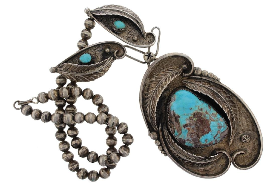 Sterling Silver Antique  Turquoise Masterpiece Necklace