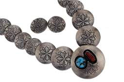 Sterling Silver  Turquoise  Coral Graduated Roundel