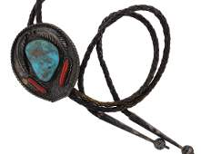Sterling Silver Vintage  Turquoise  Coral Bolo Tie