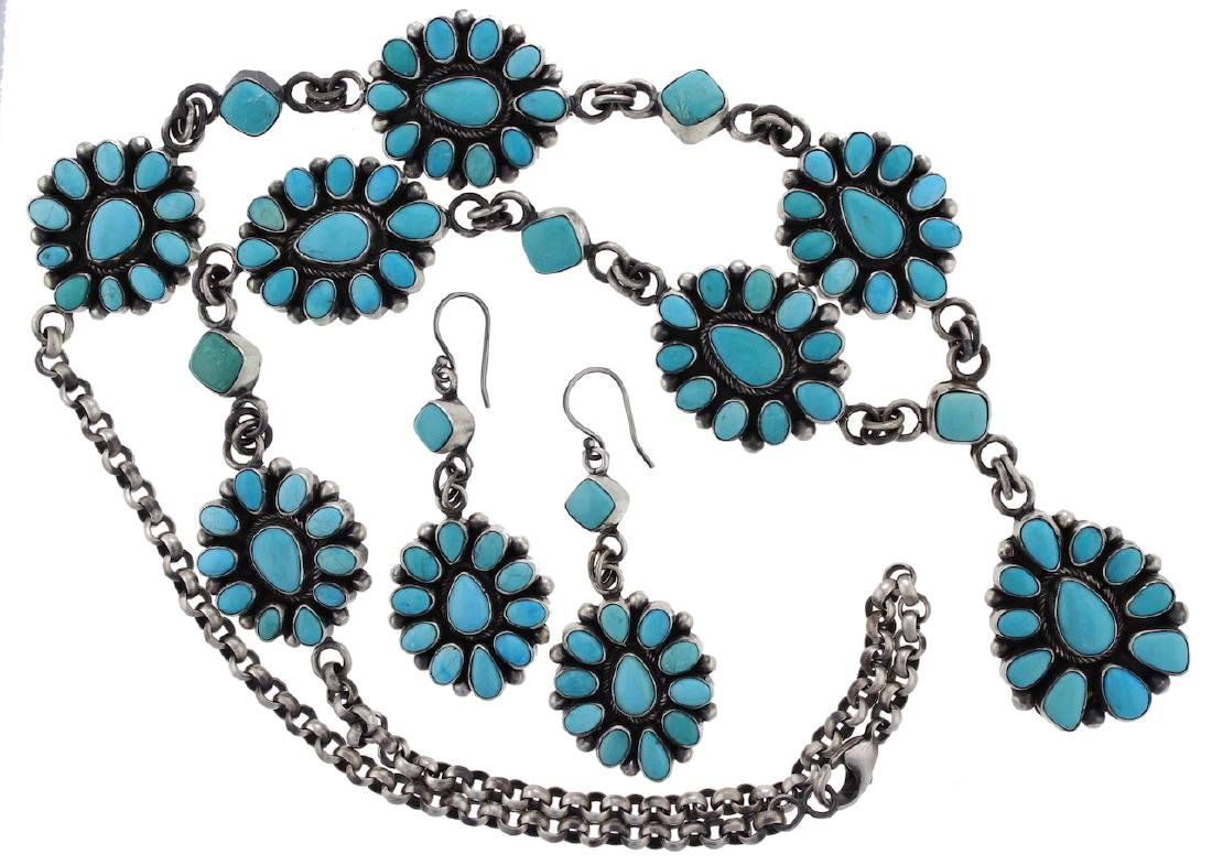 Sterling Silver  Sleeping Beauty Turquoise Necklace &