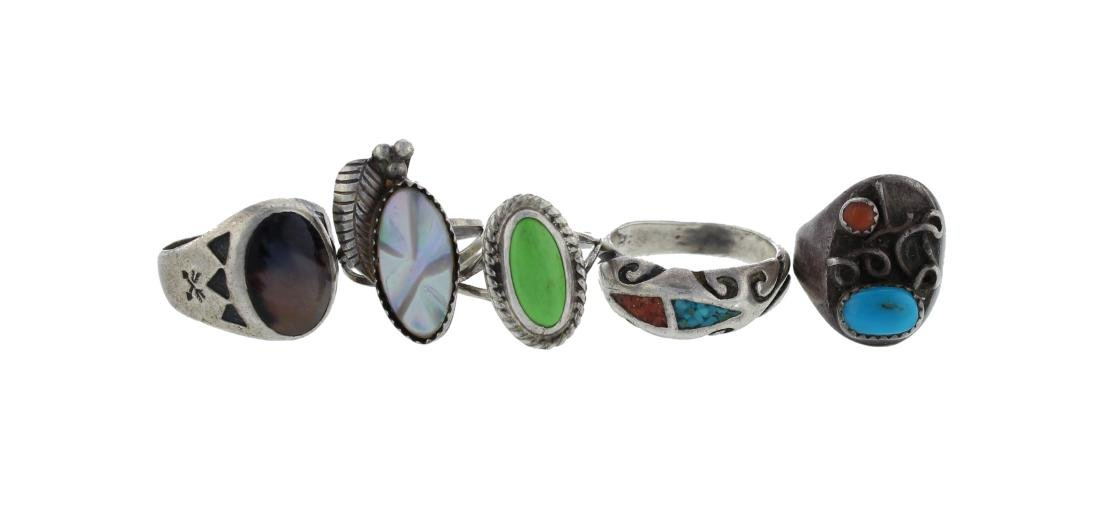 Sterling Silver Mixed Stone Ring Lot of 5 Navajo Native