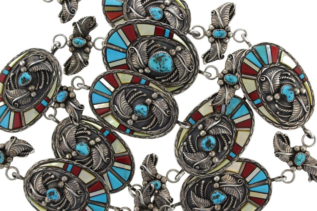 Sterling Silver  Turquoise / Coral & MoP Vintage