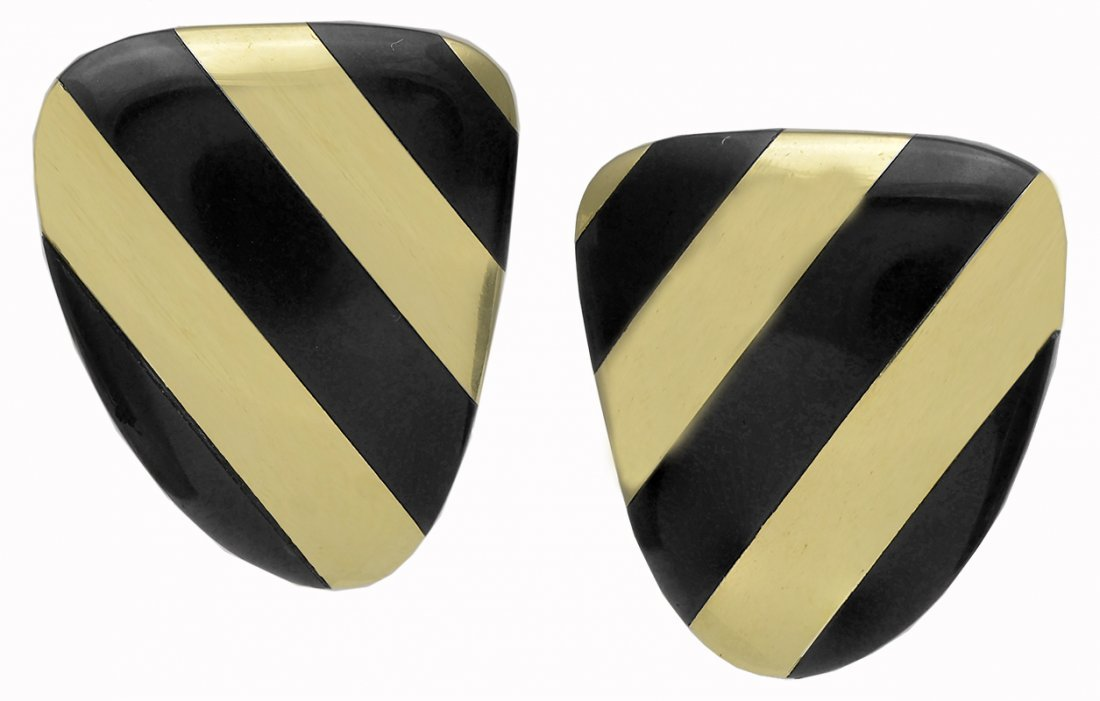 Tiffany and Co. Onyx and Gold Ear Clips