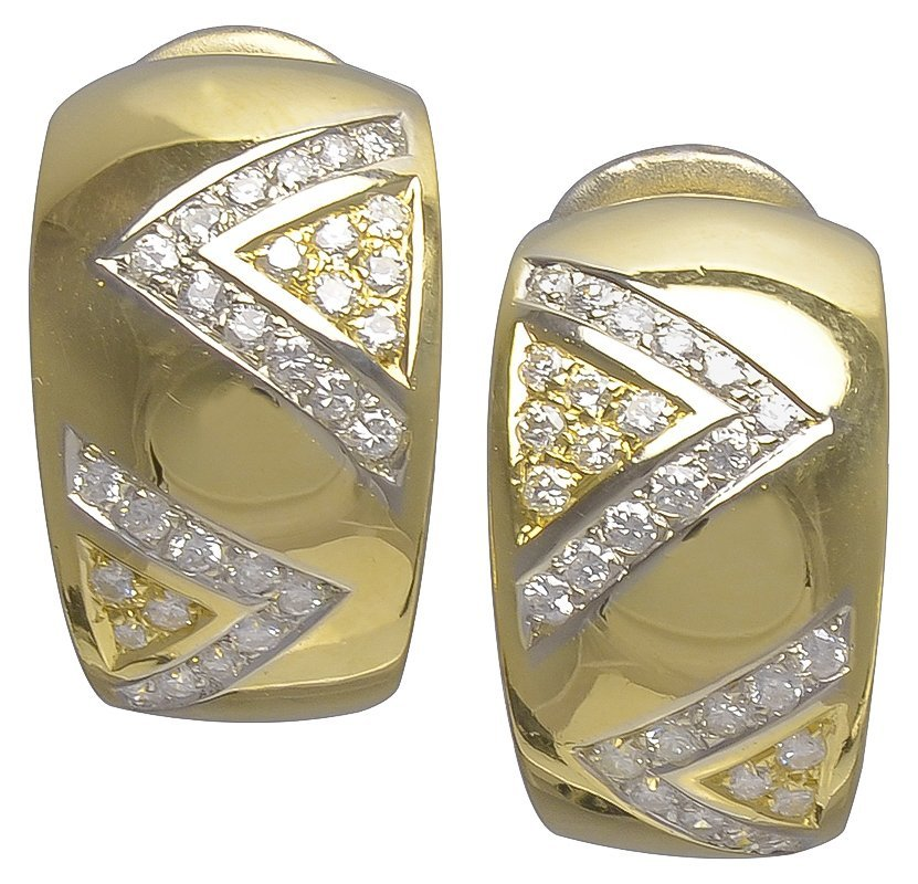 Cartier Diamond Gold Double V Motif Earclips