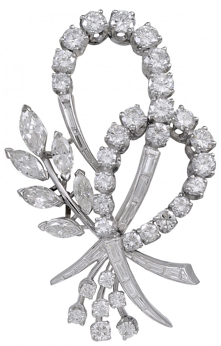 Beautiful Diamond Platinum Brooch