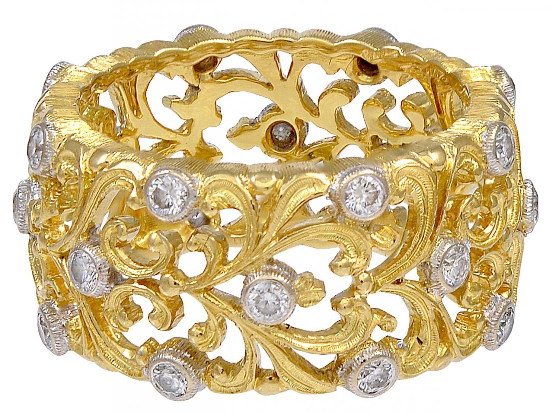 Bucellati Diamond Gold Band