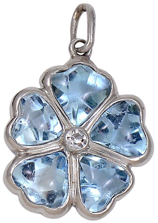 Aquamarine Diamond Platinum Charm