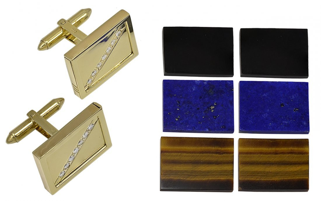 Gold and Diamond Cufflinks with Interchangeable Tops