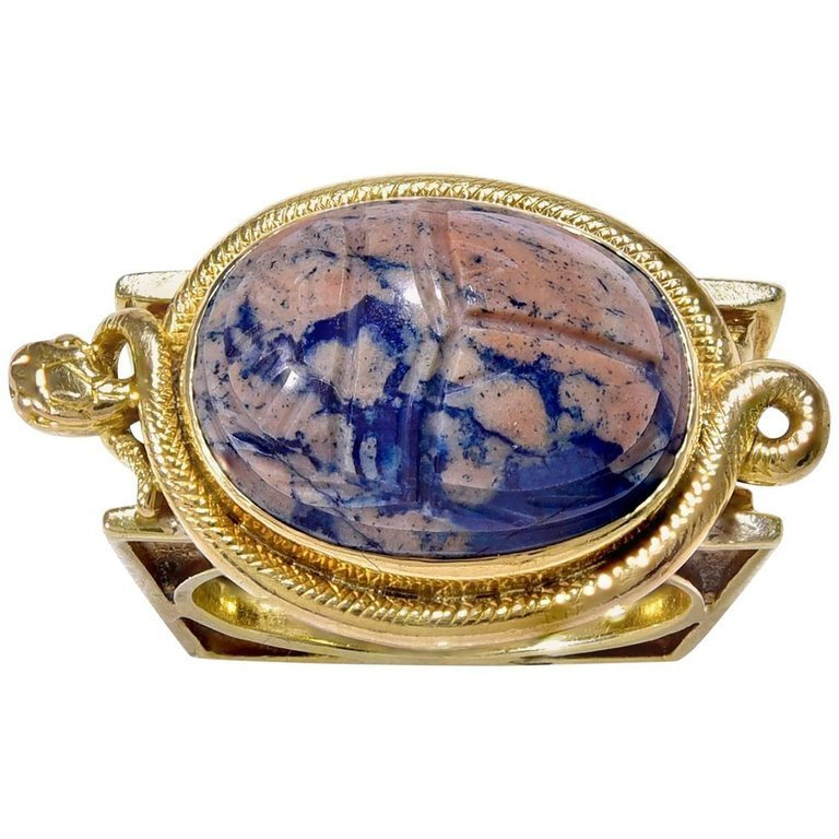 Gold Ring Set with a Carved Hardstone Scarab