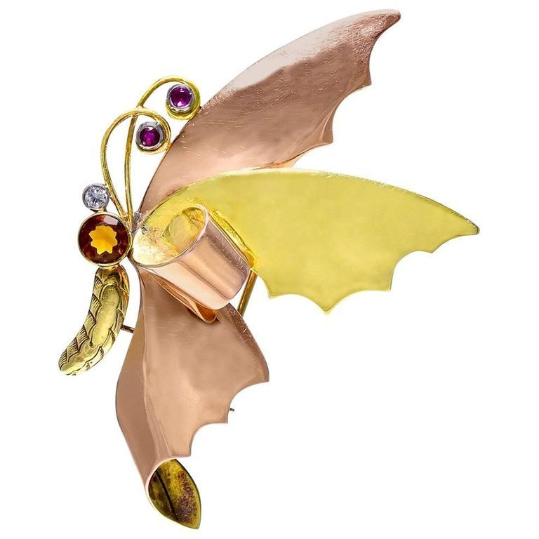 Tiffany & Co. Gold and Gemset Butterfly  Brooch