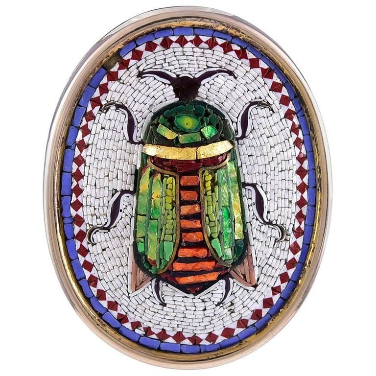 Antique Micro Mosaic Scarab Brooch