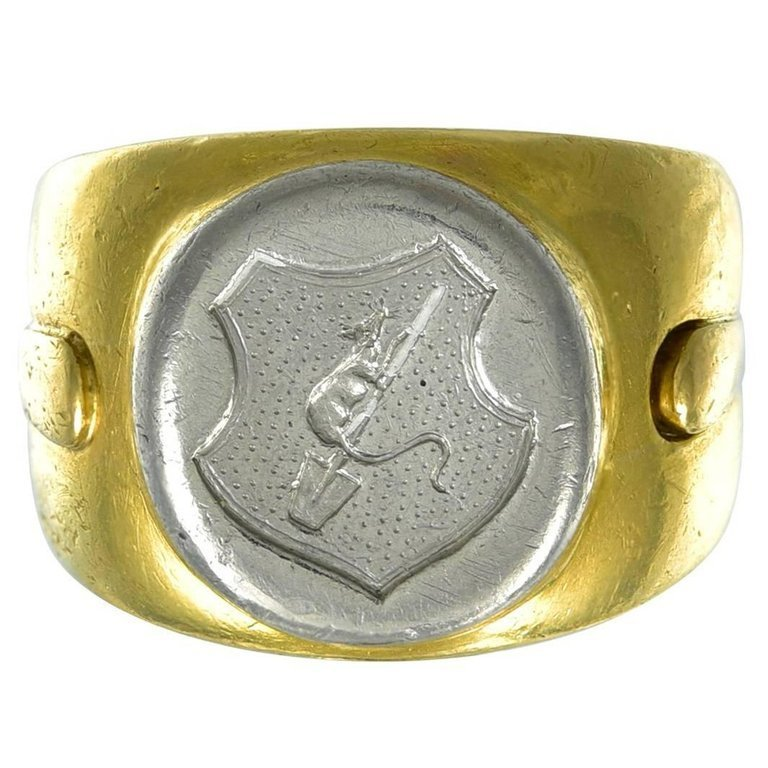 French Gold and Platinum Signet Ring